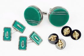 A Pair Of Modernist Green Onyx And Sterling Silver