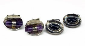 Two Pairs Of Sterling Silver And Semi-precious Stone