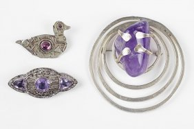 An Art Deco Amethyst, Sterling Silver, And Paste