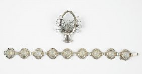 An Austrian Sterling Silver And Moonstone Bracelet.