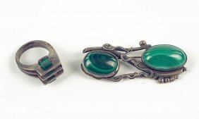 A Modernist Malachite And Silver Ring.