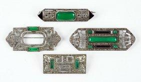 A Theodor Fahrner Green Onyx, Marcasite, Enamel, And