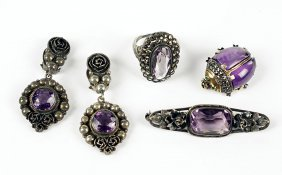 A Pair Of German Amethyst And Silver Earclips.