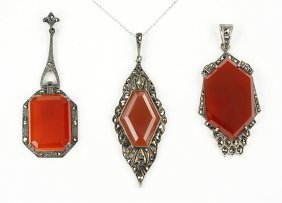 Three German Carnelian, Marcasite, And Sterling Silver