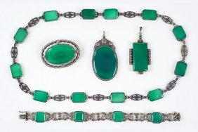 A Green Onyx, Marcasite, And Sterling Silver Necklace.
