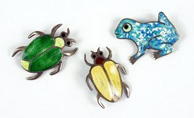 Three Jose Federico Mexican Sterling Silver And Enamel
