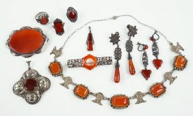 A Carnelian And .800 Silver Necklace.