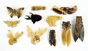 Three Art Nouveau Carved Horn Insect Brooches.
