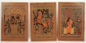 A Group Of Three Burmese Lacquered Wall Panels.