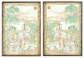 A Pair Of Chinese Porcelain Plaques.