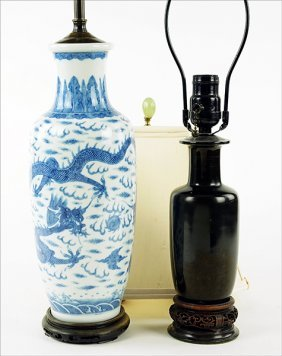 A Chinese Blue And White Porcelain Lamp.