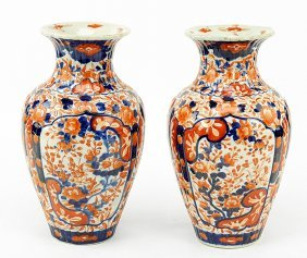 A Pair Of Chinese Imari Porcelain Vases.