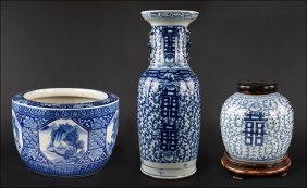 A Group Of Late 19th/early 20th Century Chinese Blue