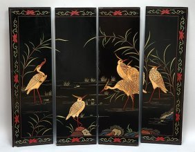 A Chinese Lacquered Four Panel Screen.