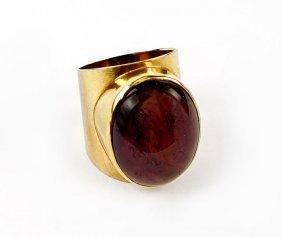 An Amethyst And 18 Karat Yellow Gold Ring.