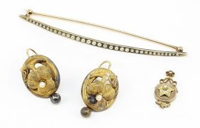 A Pair Of Victorian Gold Filled Earrings.