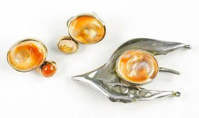 A Fire Opal And Shell Demi-parure.