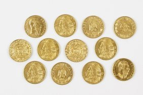 A Collection Of Mexican Miniature Gold Coins.