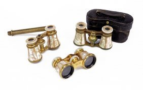 Three Pairs Of French Mother-of-pearl Opera Glasses.