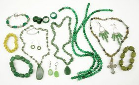 A Collection Of Stone Costume Jewelry.