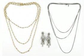 A Pair Of Kramer White Rhinestone Earrings.