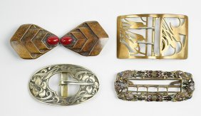 An Art Nouveau Enameled Metal Belt Buckle.