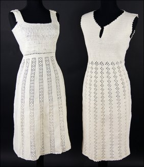 Two Vintage Ivory Crochet Dresses.