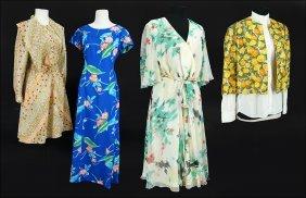 A Ruth Mcculloch Chiffon Floral Print Dress.