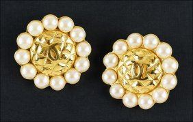 A Pair Of Chanel Faux Pearl Earclips.