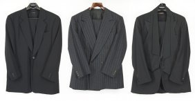 A Brooks Brothers Black Wool Three Piece Suit.