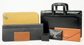 A Collection Of Levenger Leather Travel Accessories.