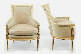 A Pair Of Continental Armchairs.