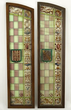 A Pair Of French Stained Glass Door Panels.