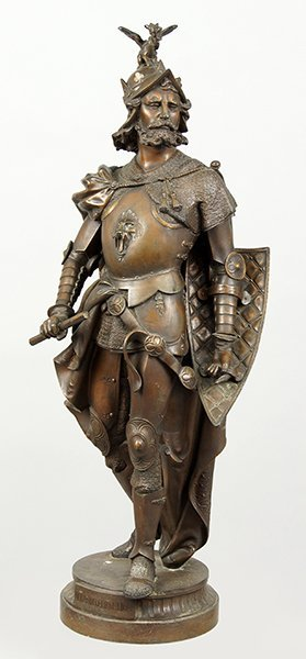 A Continental Patinated Metal Figure Of King Richard I