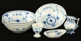 A Collection Of Royal Copenhagen Blue Fluted Porcelain