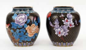 A Pair Of Chinese Cloisonne Vases.