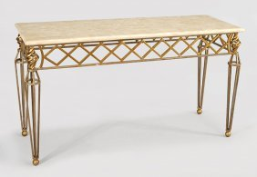 A Contemporary Metal Console Table.