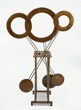 A Patinated Metal Kinetic Sculpture.