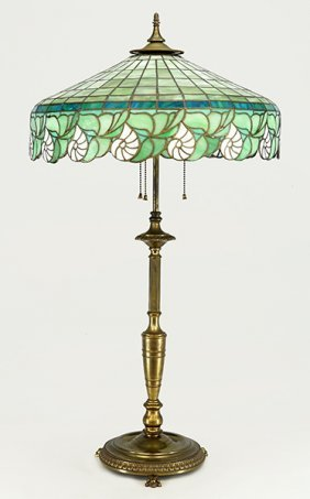A Leaded Glass Table Lamp.