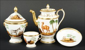 A Continental Painted And Gilt Porcelain Coffee