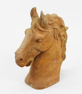 A Patinated Metal Horse Head.
