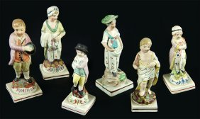 A Group Of Six Staffordshire Pearlware Pottery Figures.