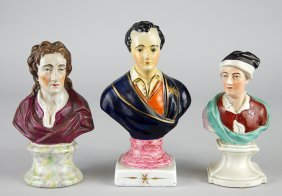 Three 19th Century Staffordshire Pottery Busts.