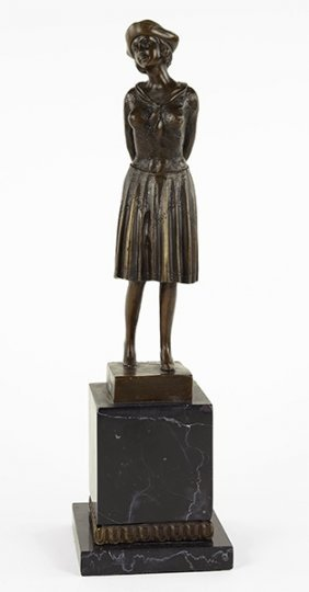 A Bronze Figure Of A Young Girl.