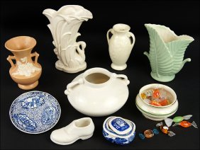 A Collection Of Ceramic Decorative Items.