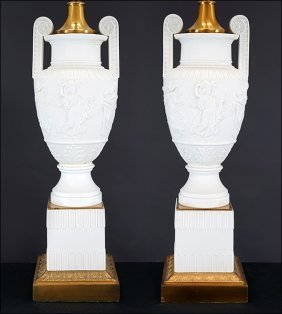 A Pair Of Parian Ware Porcelain Lamps.