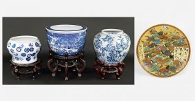Three Chinese Blue And White Porcelain Jardinieres.