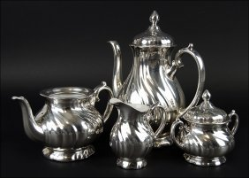 A German Wmf Silver Overlay Tea And Coffee Service.