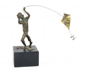 Curtis Jere (american, 20th Century) Flying A Kite.