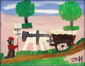Clementine Hunter (american, 1886-1986) Cotton Wagon.